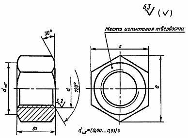Гайка АМ12-6Н сталь 25 ГОСТ 9064-75